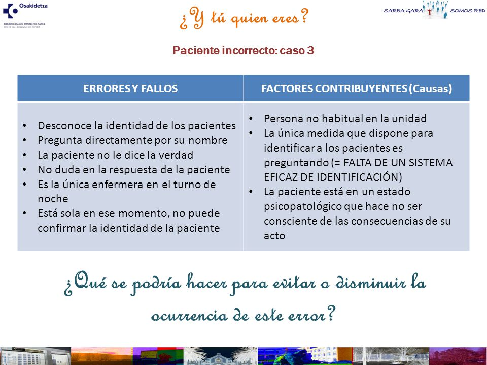 Paciente incorrecto: caso 3 FACTORES CONTRIBUYENTES (Causas)