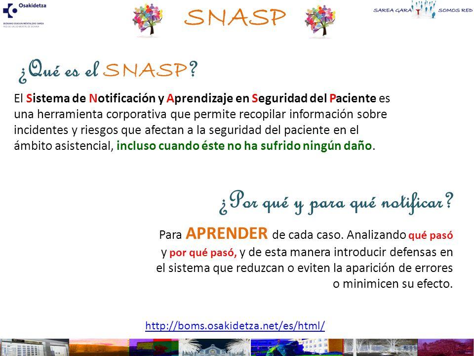 SNASP ¿Qué es el SNASP ¿Por qué y para qué notificar