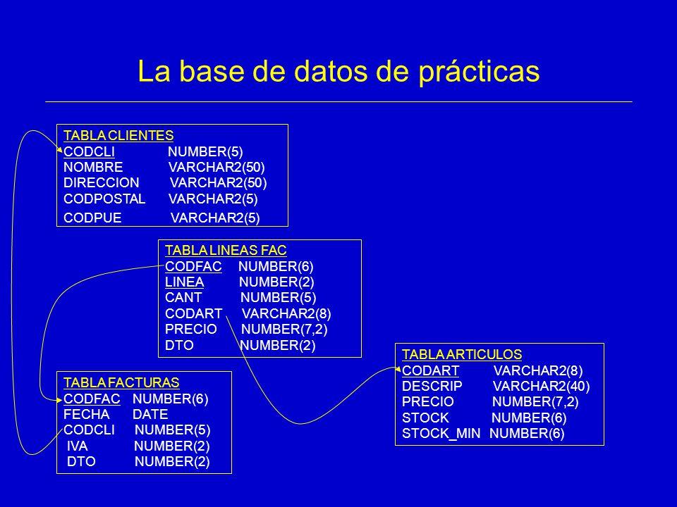 La base de datos de prácticas