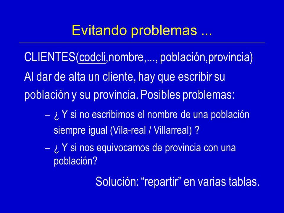 Evitando problemas ... CLIENTES(codcli,nombre,..., población,provincia)