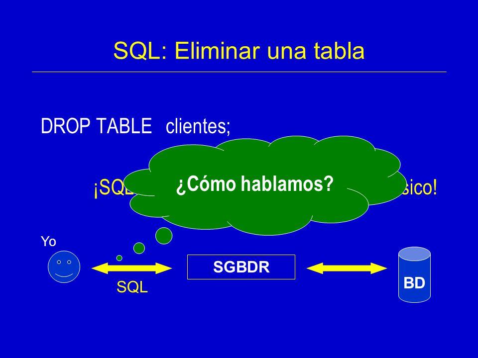 SQL: Eliminar una tabla