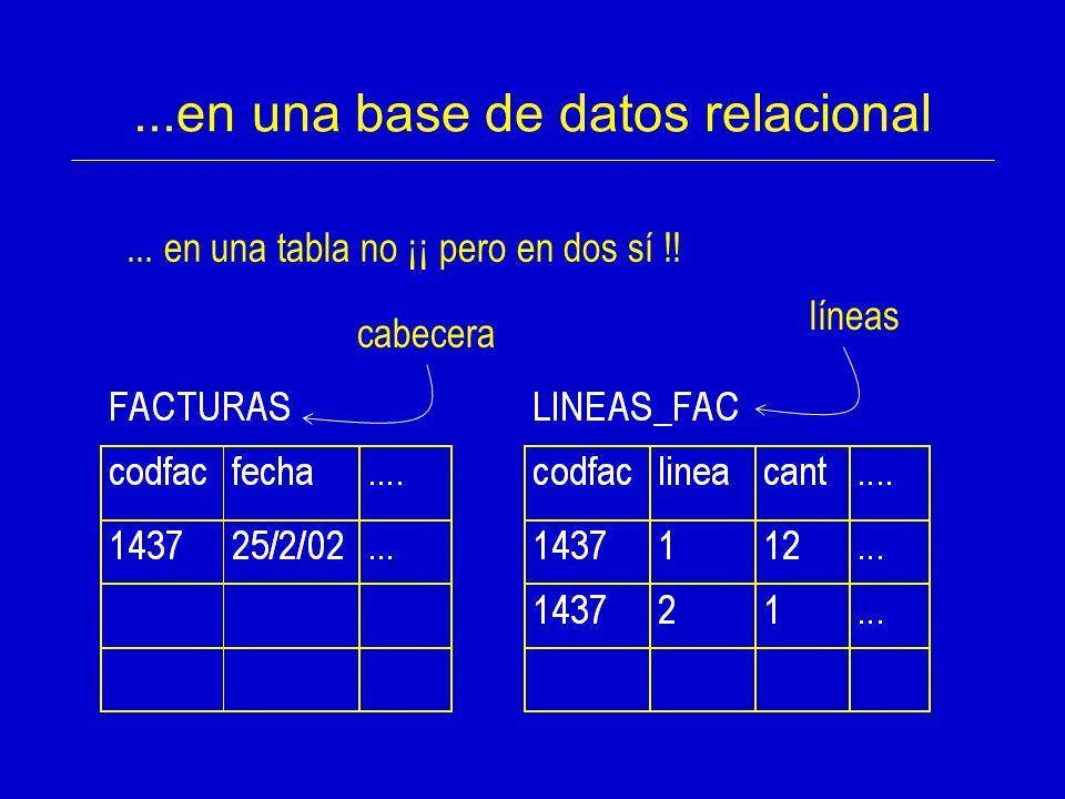 ...en una base de datos relacional
