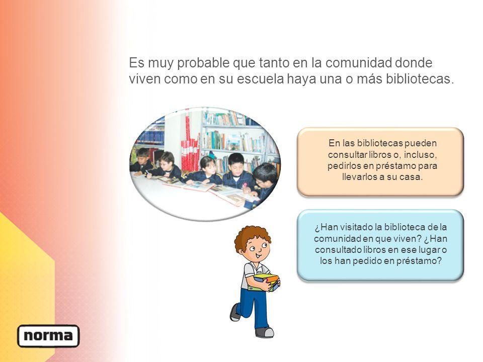 Es muy probable que tanto en la comunidad donde viven como en su escuela haya una o más bibliotecas.