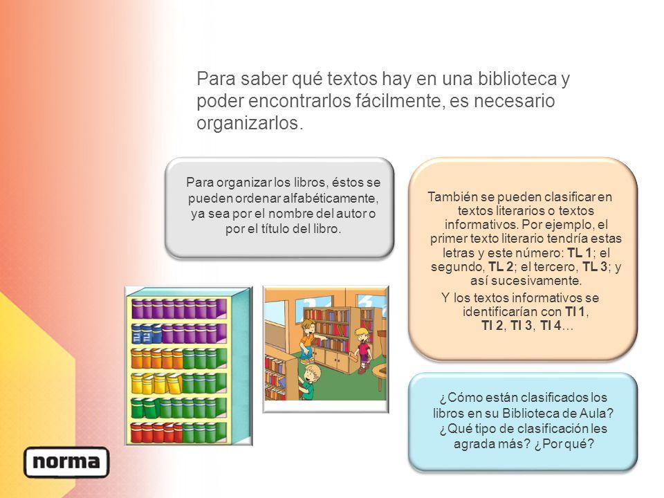 Para saber qué textos hay en una biblioteca y poder encontrarlos fácilmente, es necesario organizarlos.