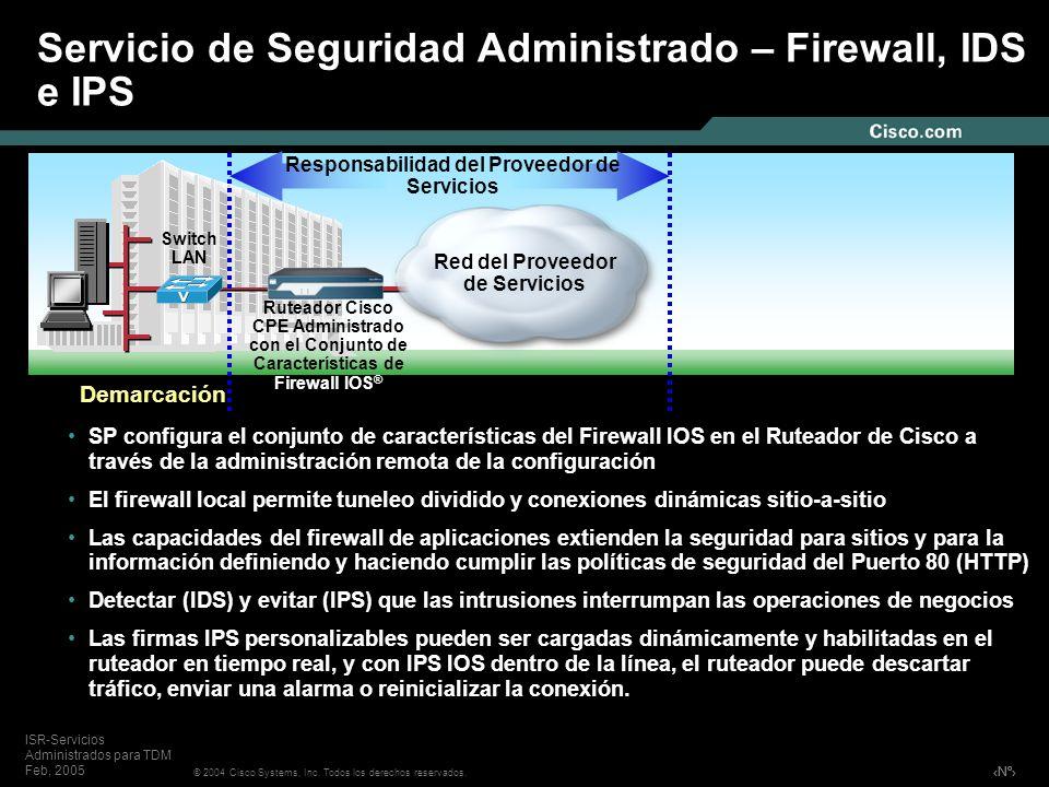 Servicio de Seguridad Administrado – Firewall, IDS e IPS
