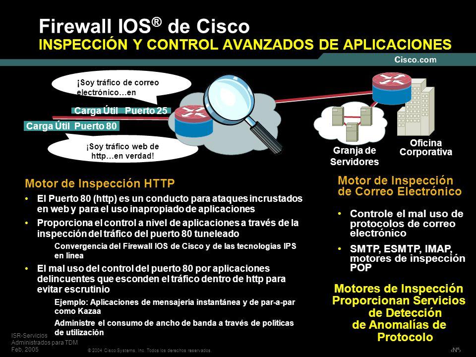 Firewall IOS® de Cisco INSPECCIÓN Y CONTROL AVANZADOS DE APLICACIONES