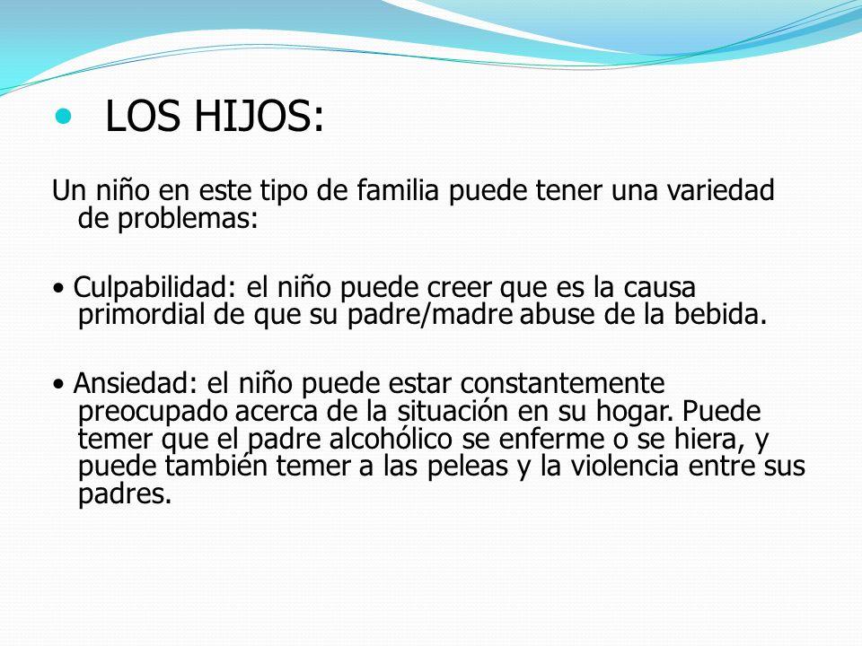 LOS HIJOS:Un niño en este tipo de familia puede tener una variedad de problemas: