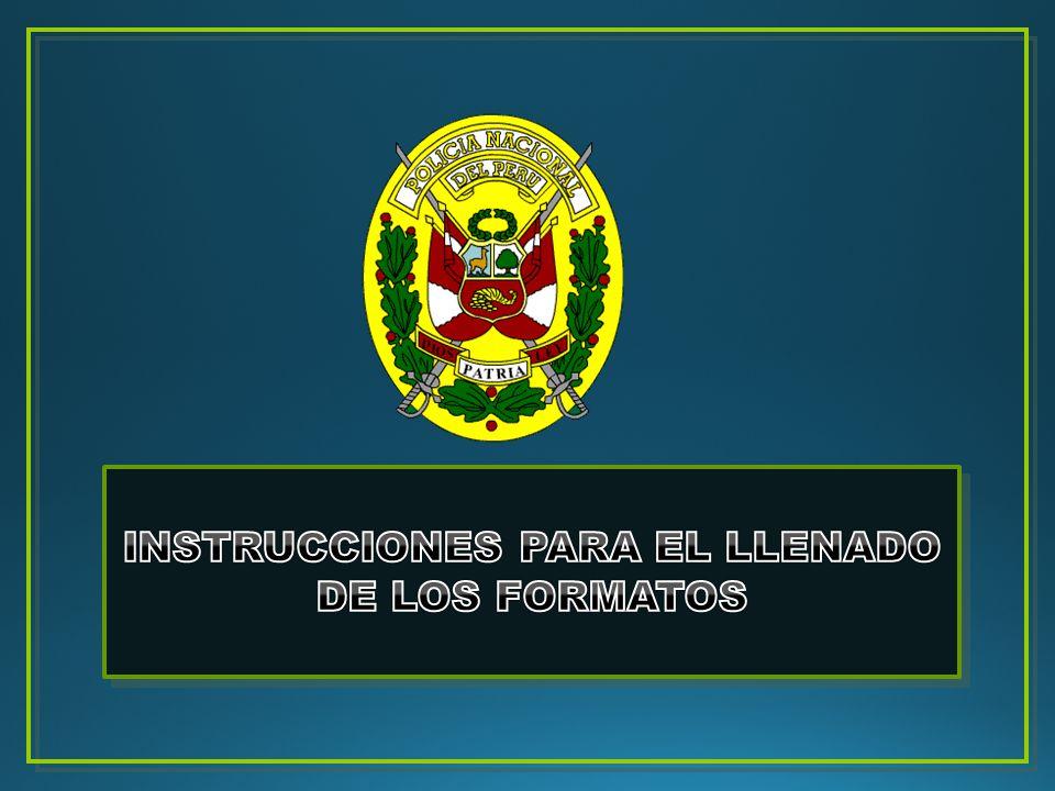 INSTRUCCIONES PARA EL LLENADO DE LOS FORMATOS