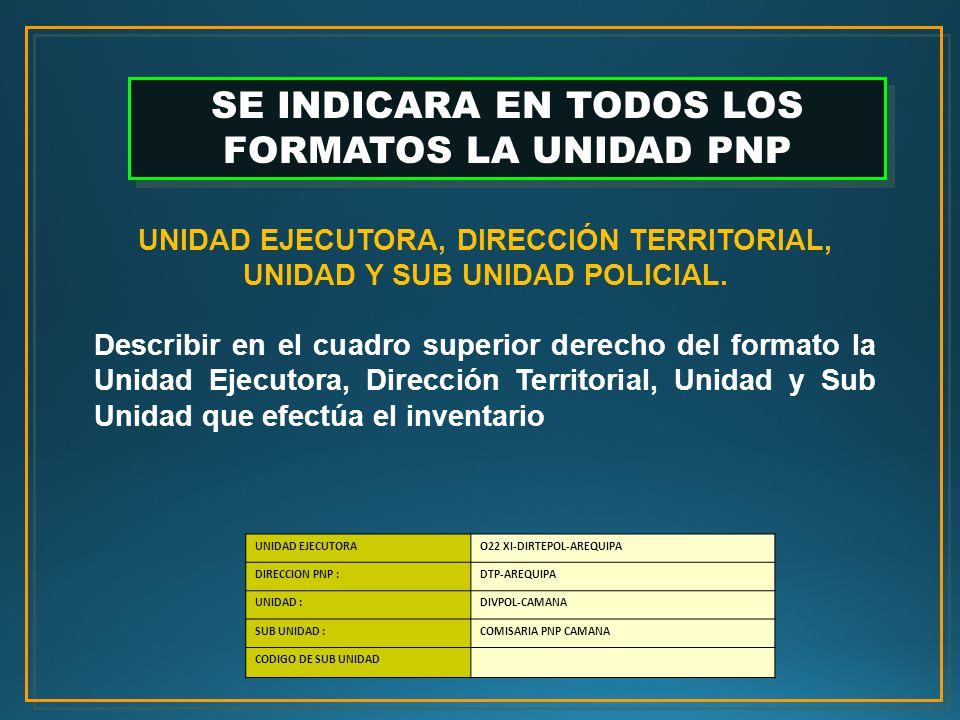 UNIDAD EJECUTORA, DIRECCIÓN TERRITORIAL, UNIDAD Y SUB UNIDAD POLICIAL.
