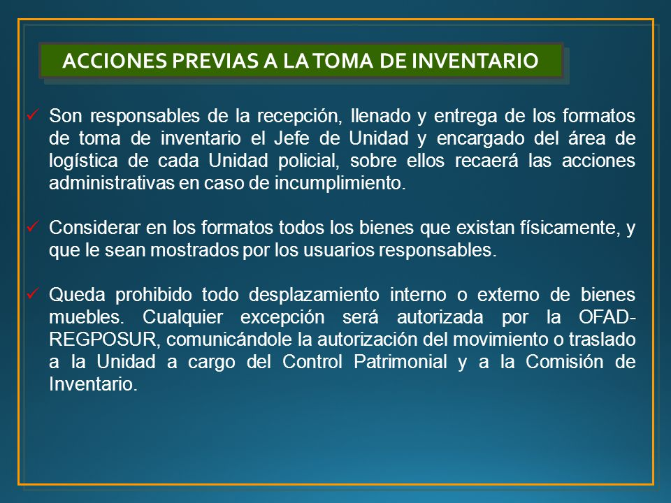 ACCIONES PREVIAS A LA TOMA DE INVENTARIO