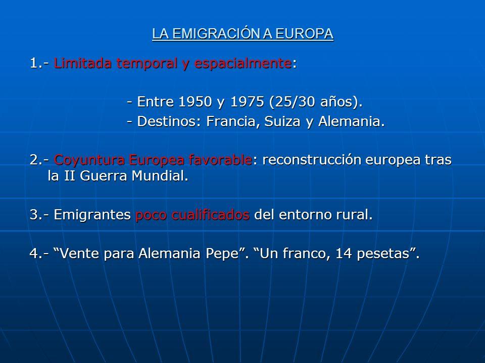 LA EMIGRACIÓN A EUROPA 1.- Limitada temporal y espacialmente: - Entre 1950 y 1975 (25/30 años). - Destinos: Francia, Suiza y Alemania.