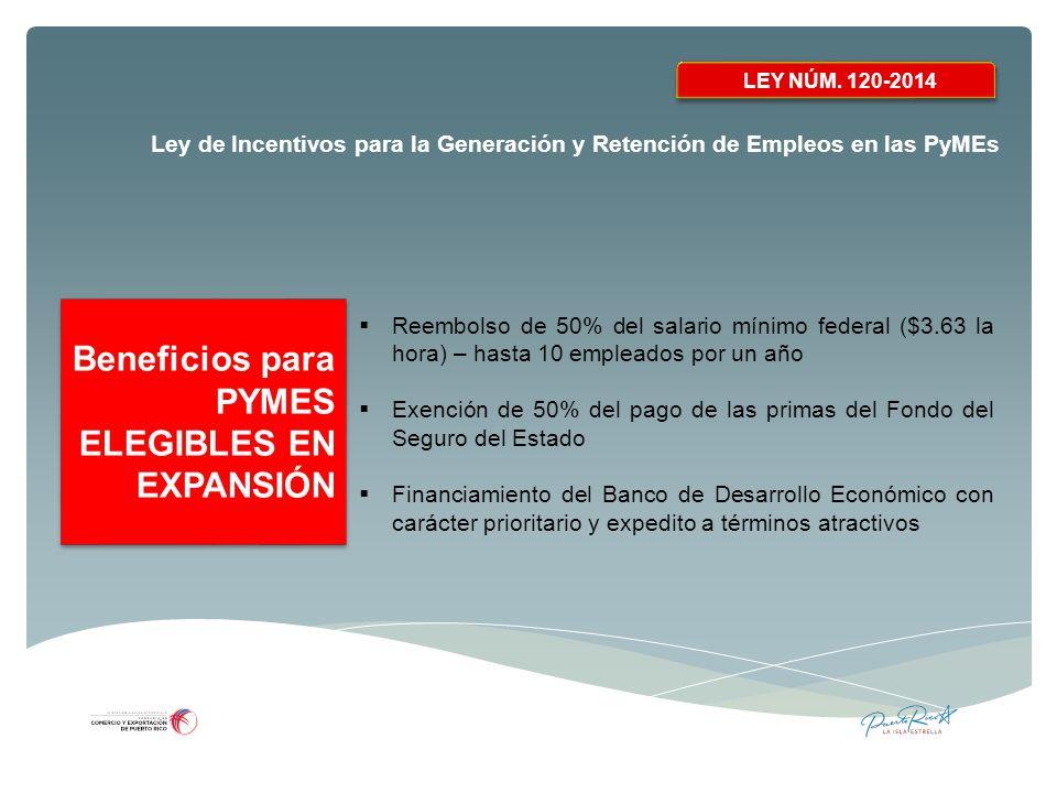 Beneficios para PYMES ELEGIBLES EN EXPANSIÓN