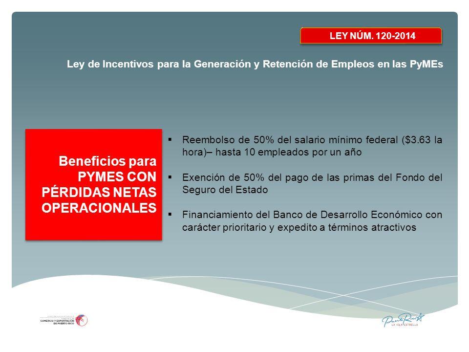 Beneficios para PYMES CON PÉRDIDAS NETAS OPERACIONALES