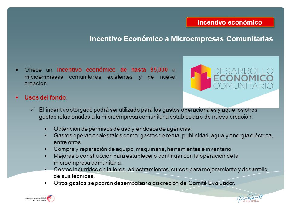 Incentivo Económico a Microempresas Comunitarias