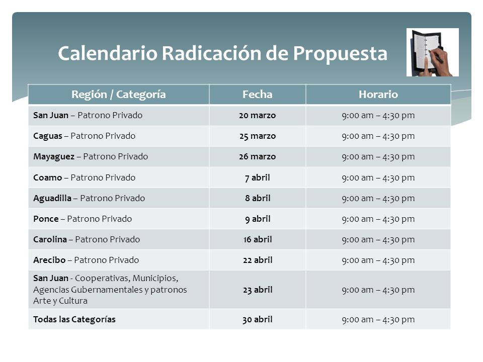 Calendario Radicación de Propuesta