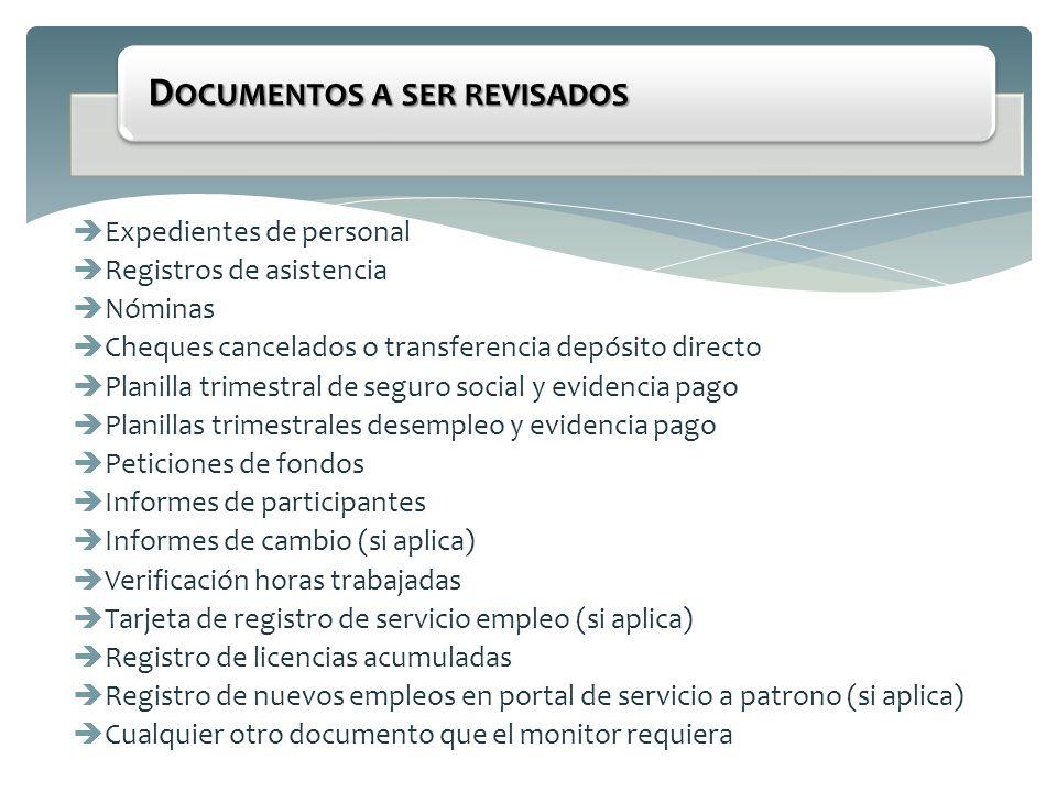 Documentos a ser revisados