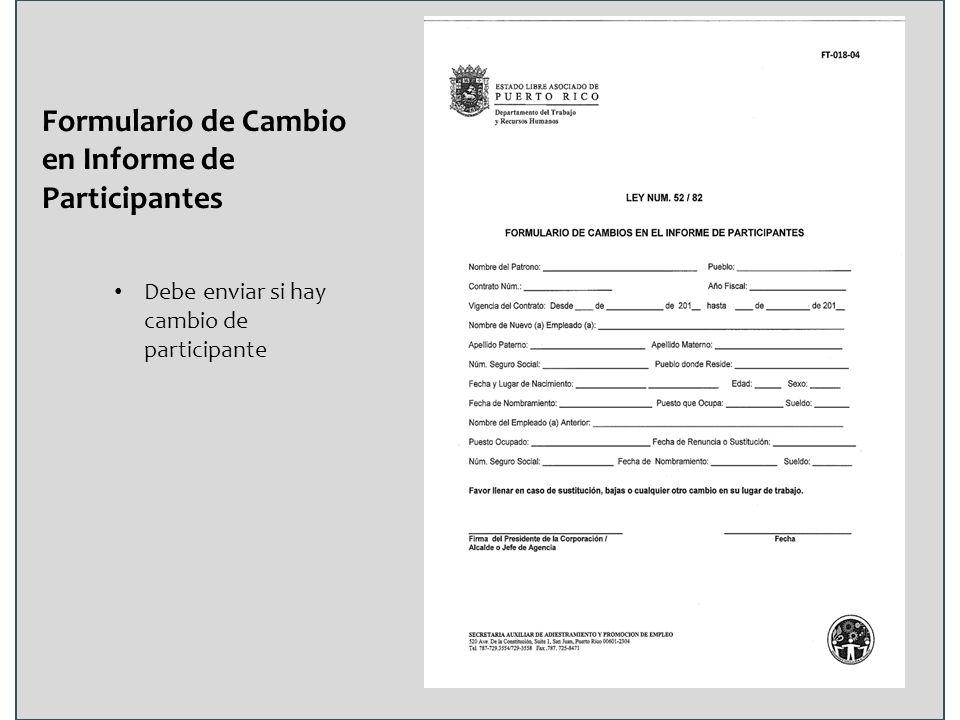 Formulario de Cambio en Informe de Participantes