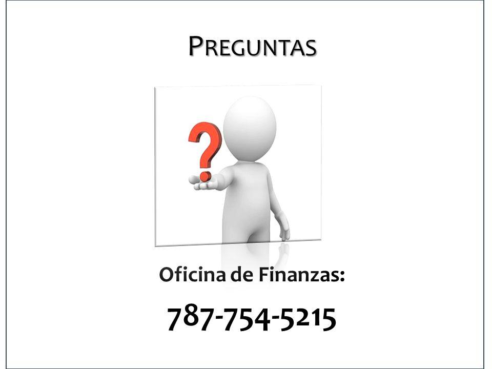 Preguntas Oficina de Finanzas: 787-754-5215