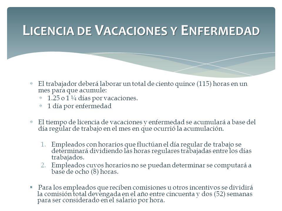 Licencia de Vacaciones y Enfermedad