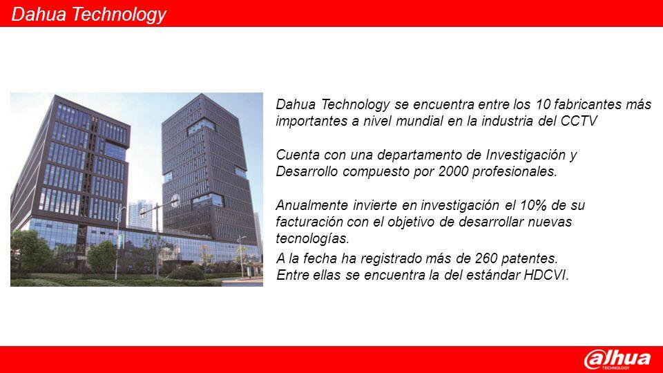 Dahua Technology Dahua Technology se encuentra entre los 10 fabricantes más importantes a nivel mundial en la industria del CCTV.