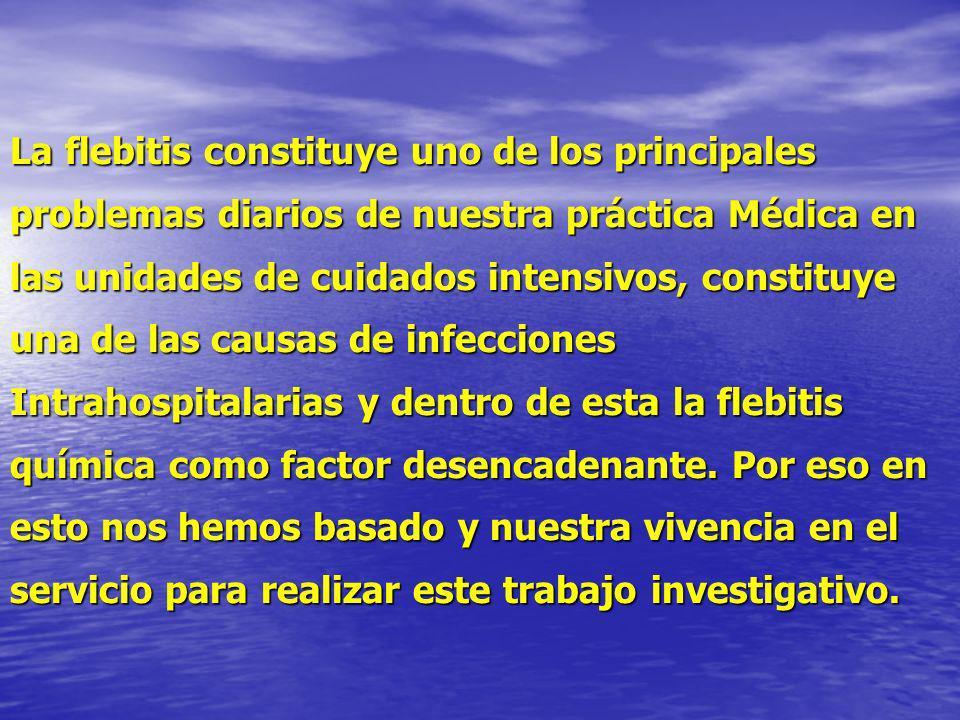 La flebitis constituye uno de los principales