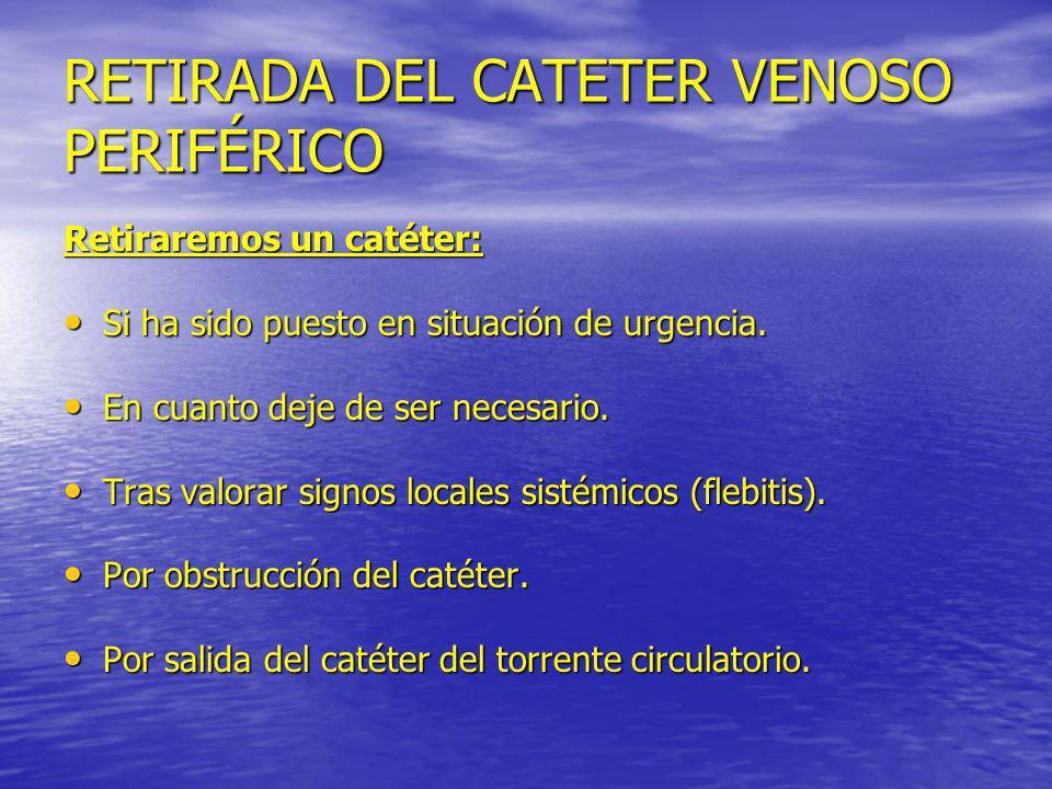 RETIRADA DEL CATETER VENOSO PERIFÉRICO