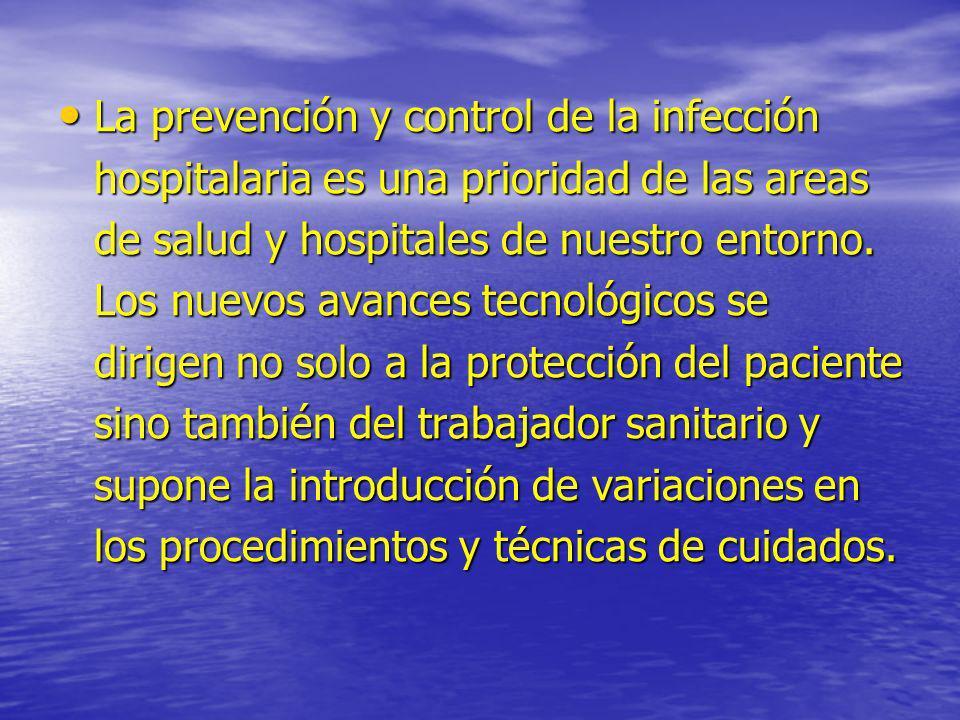 La prevención y control de la infección hospitalaria es una prioridad de las areas de salud y hospitales de nuestro entorno.