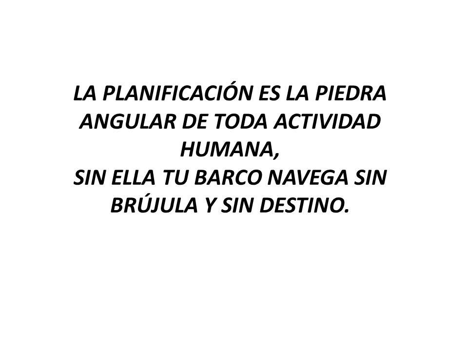 La planificación es la piedra angular de toda actividad humana, sin ella tu barco navega sin brújula y sin destino.