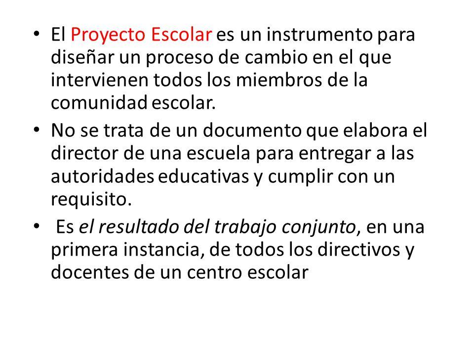 El Proyecto Escolar es un instrumento para diseñar un proceso de cambio en el que intervienen todos los miembros de la comunidad escolar.