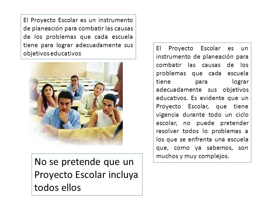 No se pretende que un Proyecto Escolar incluya todos ellos