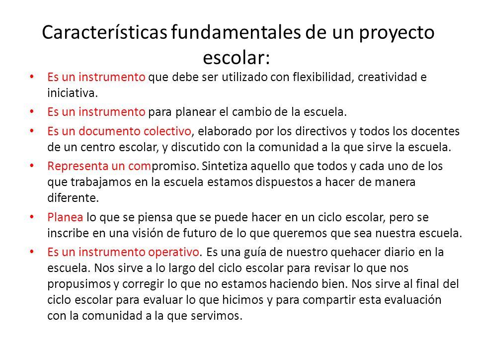 Características fundamentales de un proyecto escolar: