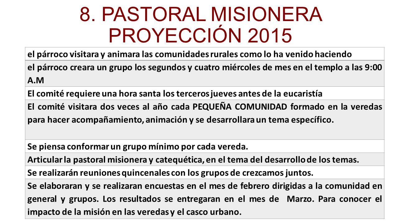 8. PASTORAL MISIONERA PROYECCIÓN 2015
