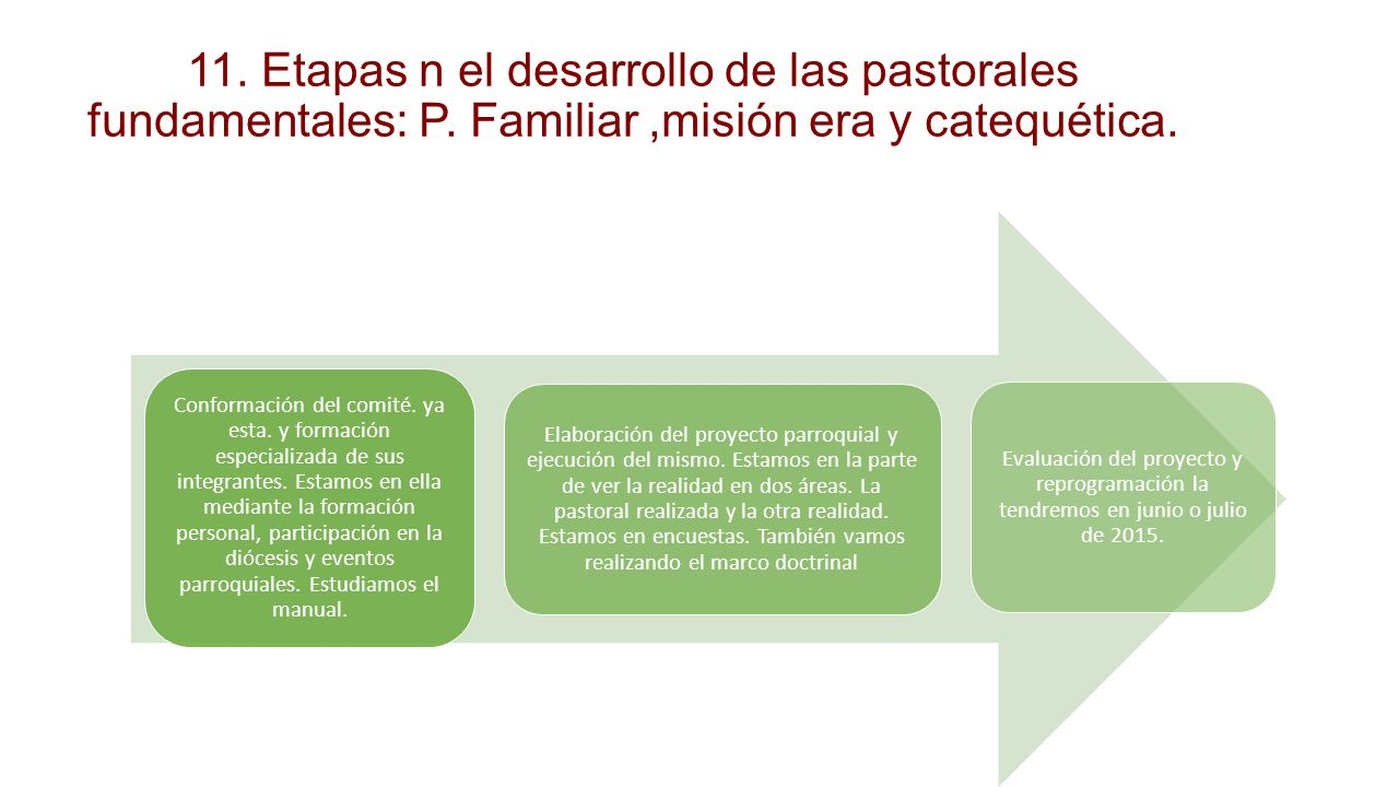 11. Etapas n el desarrollo de las pastorales fundamentales: P