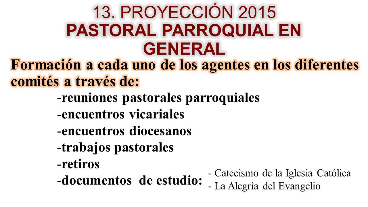 13. PROYECCIÓN 2015 PASTORAL PARROQUIAL EN GENERAL