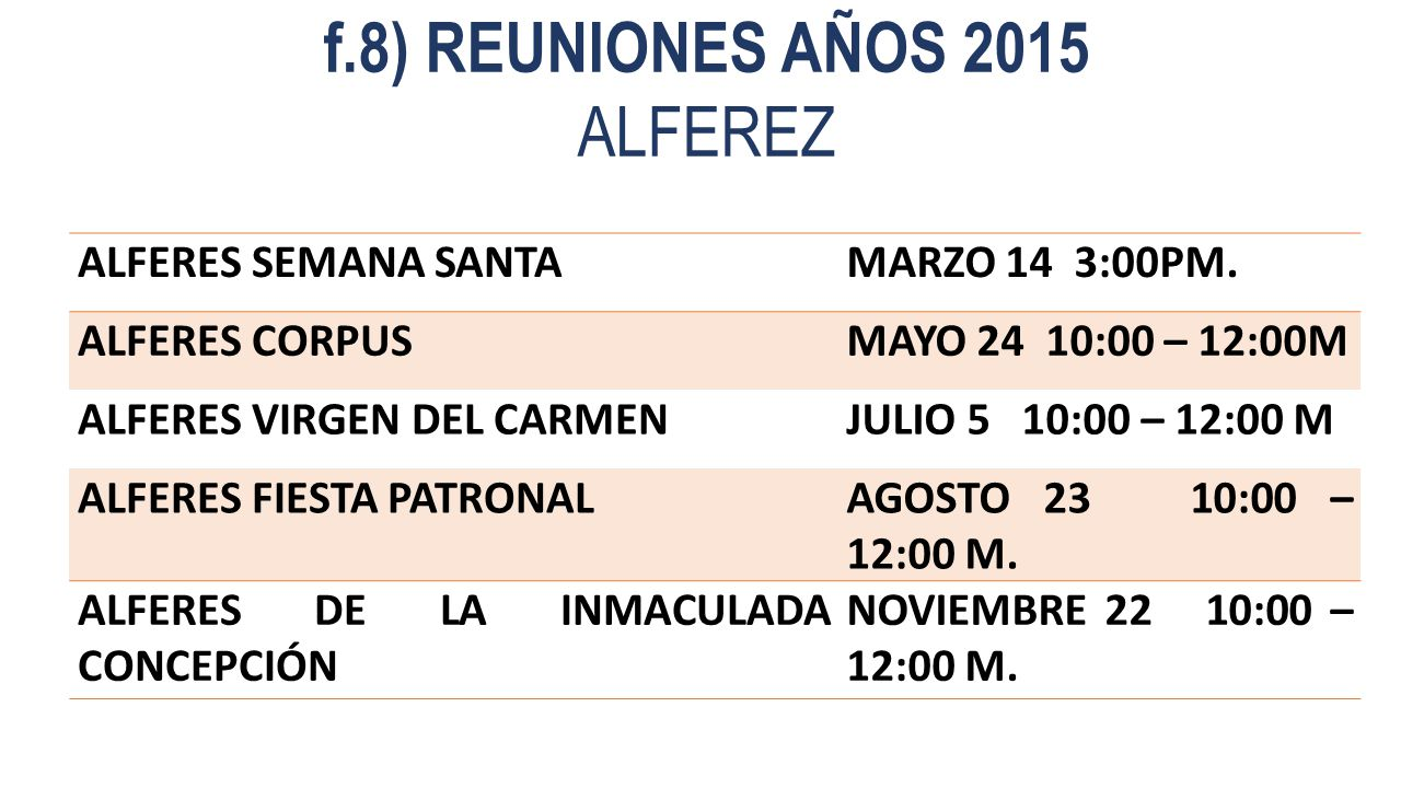 f.8) REUNIONES AÑOS 2015 ALFEREZ ALFERES SEMANA SANTA MARZO 14 3:00PM.
