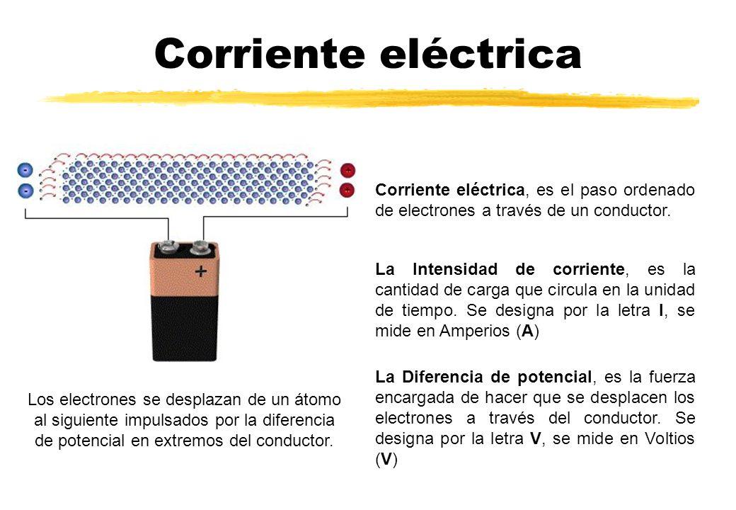 Corriente eléctrica Corriente eléctrica, es el paso ordenado de electrones a través de un conductor.
