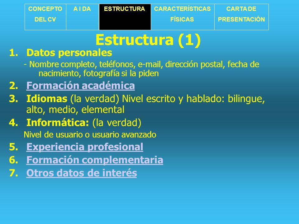Estructura (1) Datos personales Formación académica