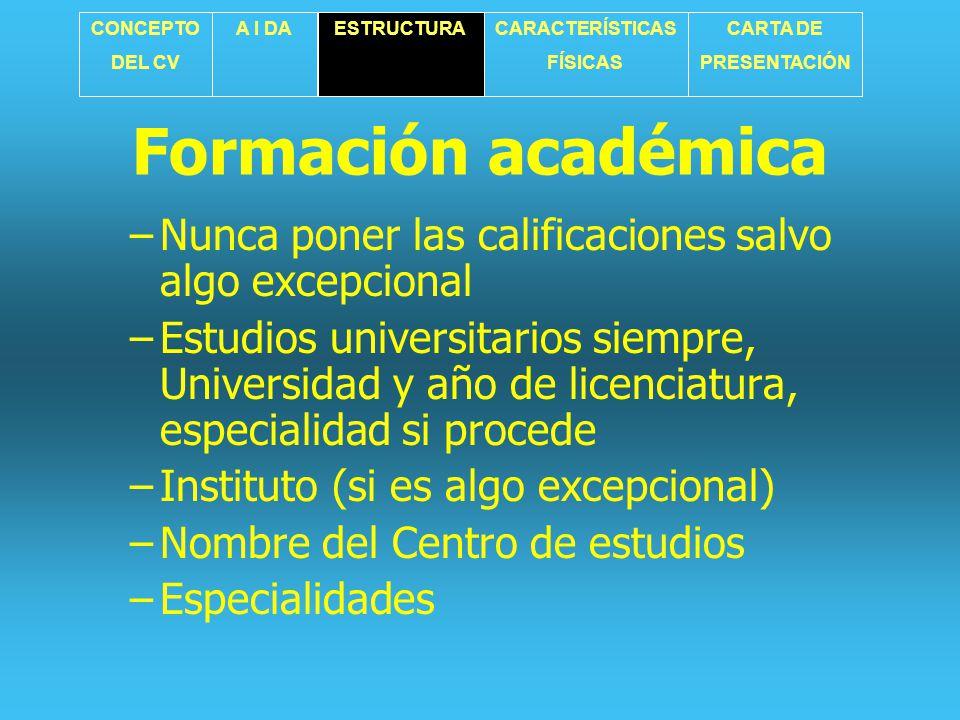 CONCEPTO DEL CV. A I DA. ESTRUCTURA. CARACTERÍSTICAS. FÍSICAS. CARTA DE. PRESENTACIÓN. Formación académica.