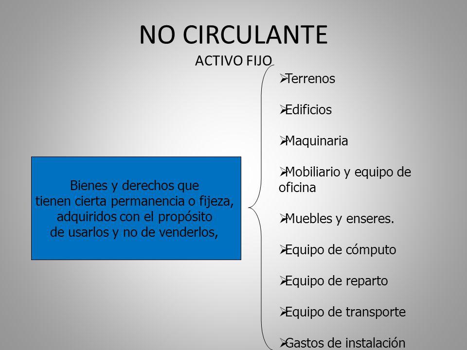 NO CIRCULANTE ACTIVO FIJO