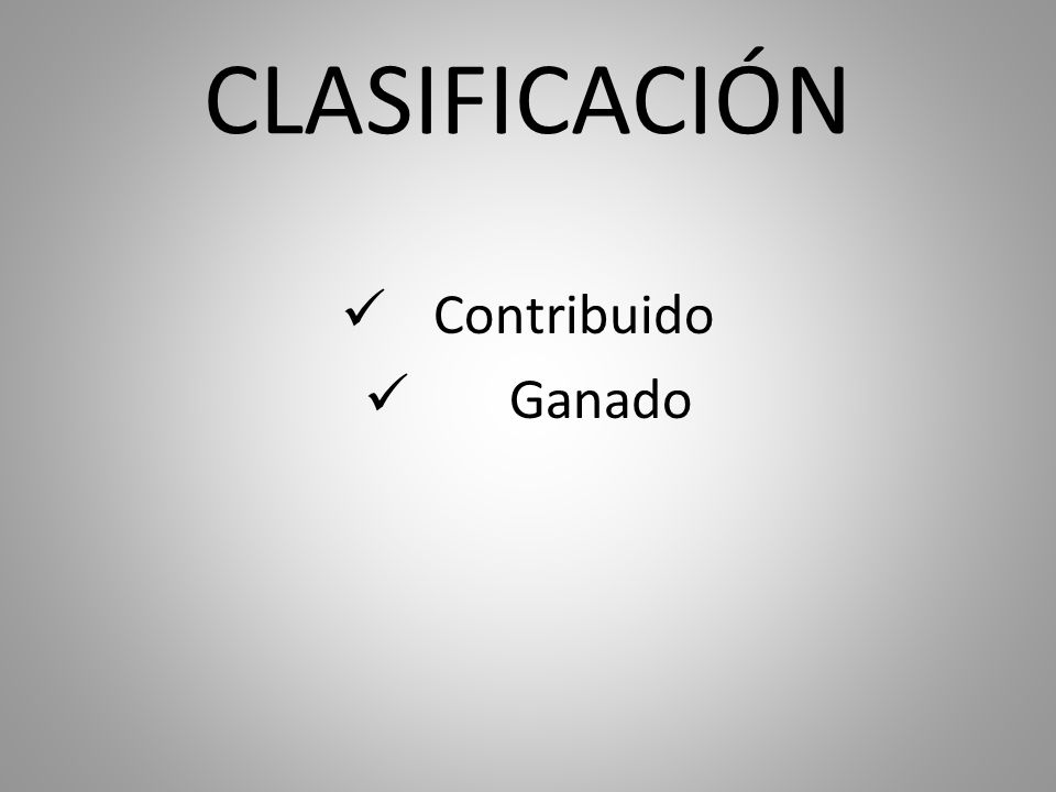 CLASIFICACIÓN Contribuido Ganado