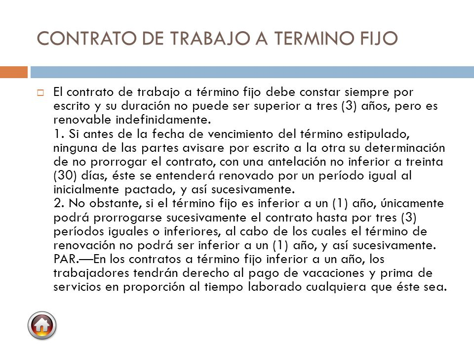 CONTRATO DE TRABAJO A TERMINO FIJO