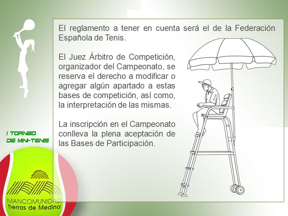 El reglamento a tener en cuenta será el de la Federación Española de Tenis.