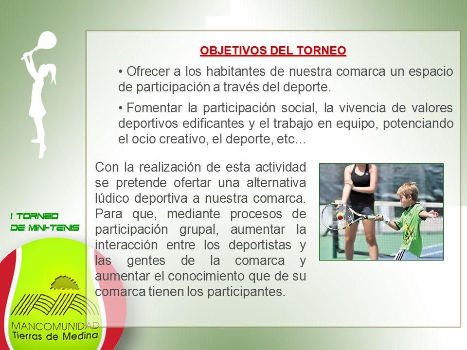 OBJETIVOS DEL TORNEO Ofrecer a los habitantes de nuestra comarca un espacio de participación a través del deporte.