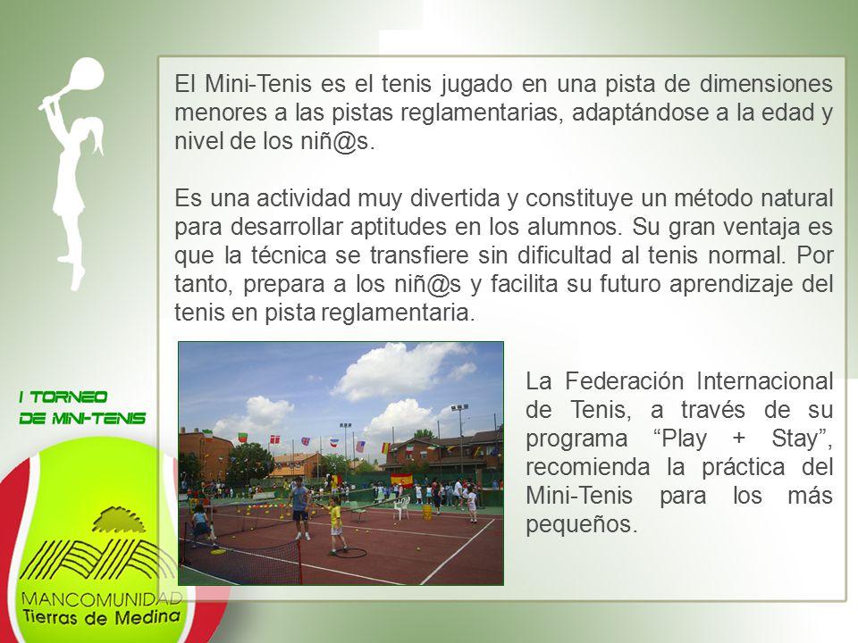 El Mini-Tenis es el tenis jugado en una pista de dimensiones menores a las pistas reglamentarias, adaptándose a la edad y nivel de los niñ@s.