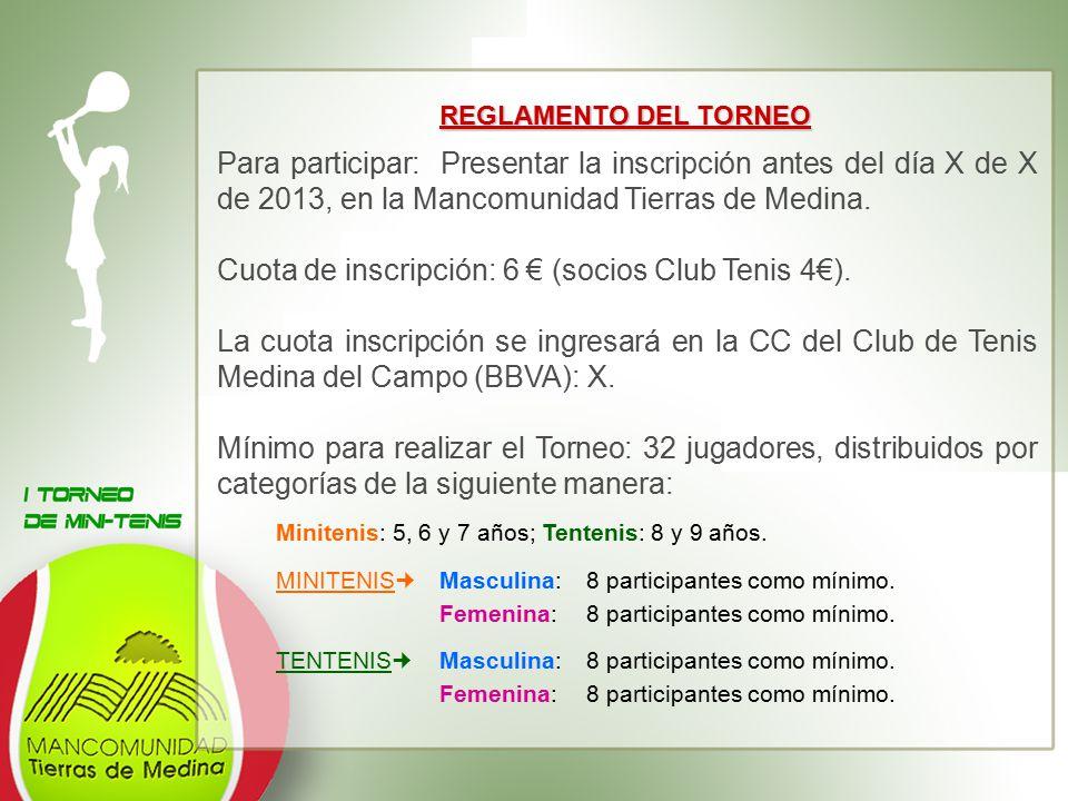 Cuota de inscripción: 6 € (socios Club Tenis 4€).