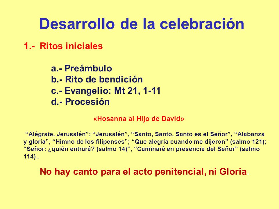 Desarrollo de la celebración