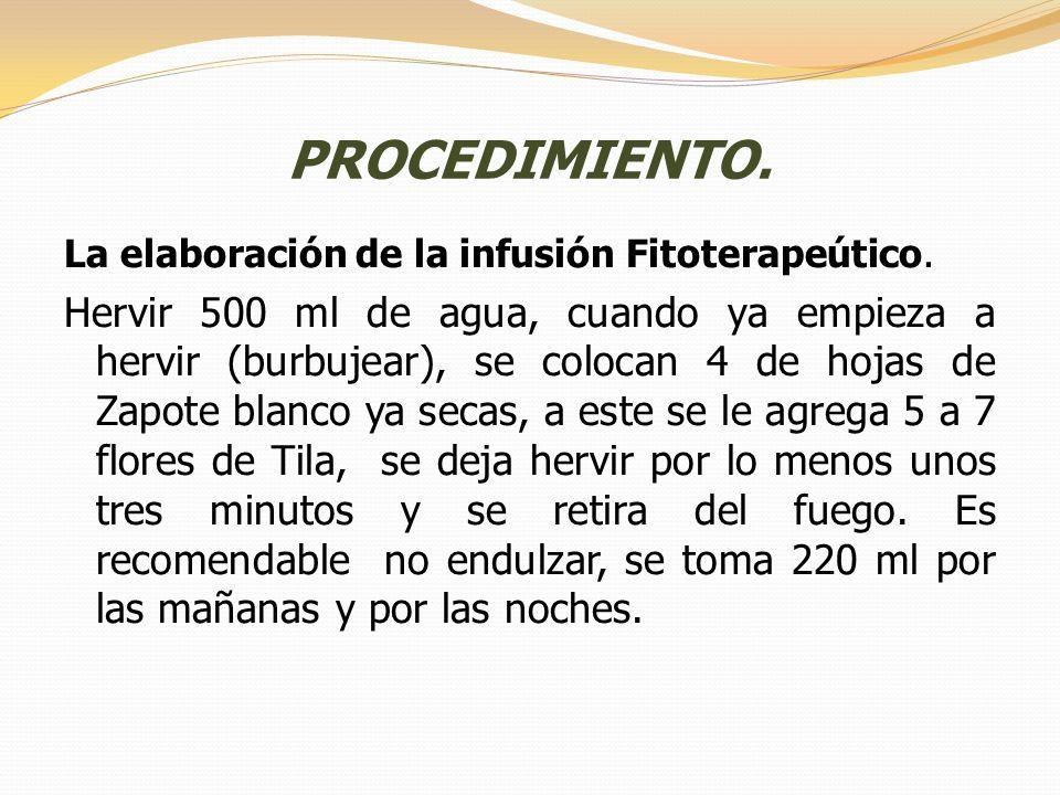 PROCEDIMIENTO. La elaboración de la infusión Fitoterapeútico.