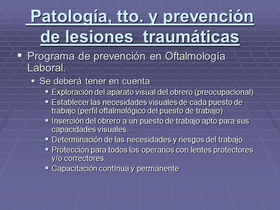 Patología, tto. y prevención de lesiones traumáticas