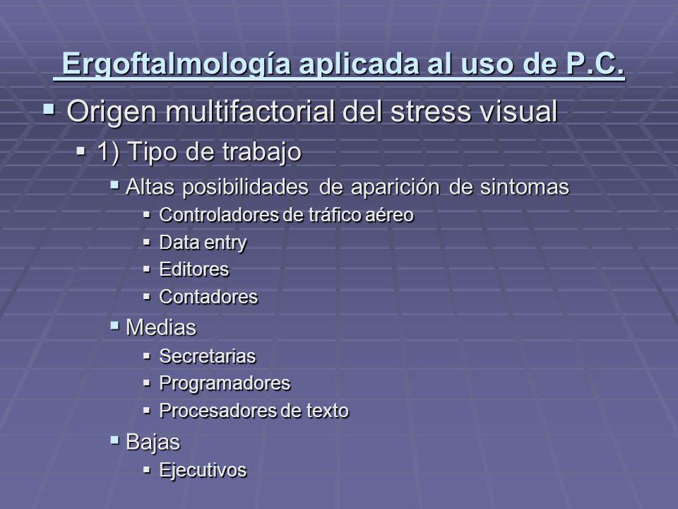 Ergoftalmología aplicada al uso de P.C.