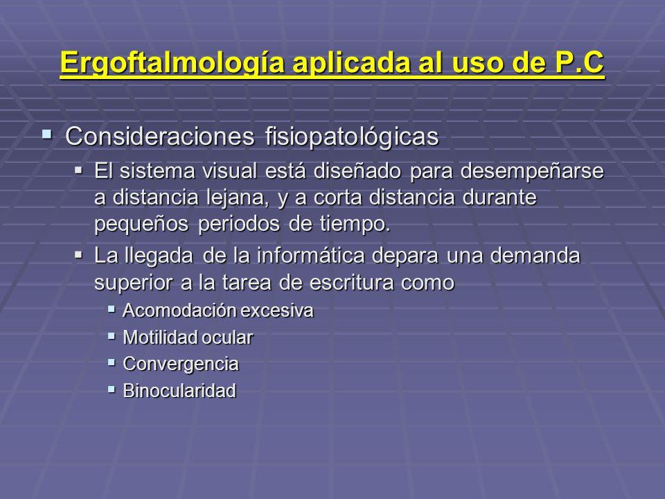 Ergoftalmología aplicada al uso de P.C